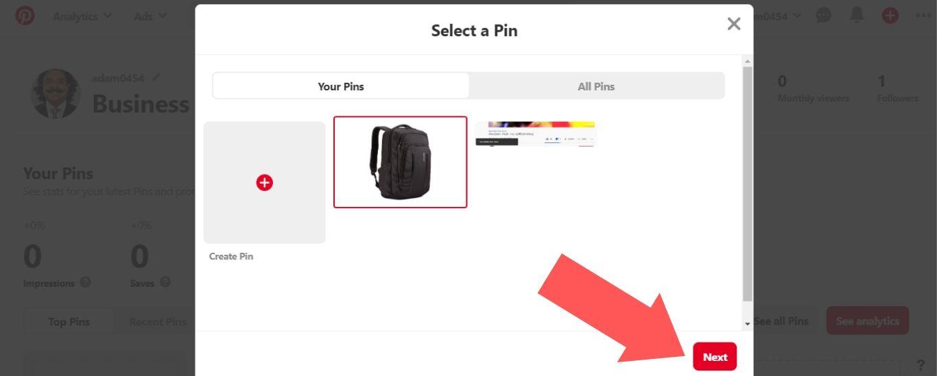 """Select """"Next"""" on Pinterest"""