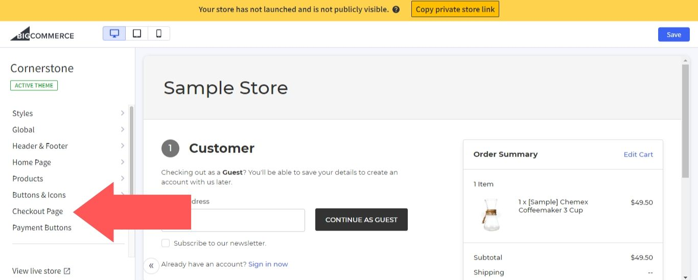 """In the left sidebar, select """"Checkout Page"""""""