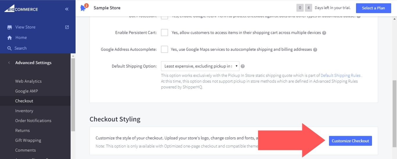 """Scroll down to the """"Checkout Styling"""" section and select """"Customize Checkout"""""""