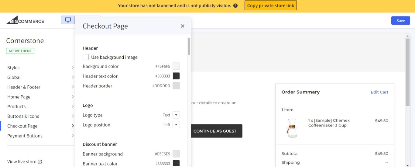 Checkout page options