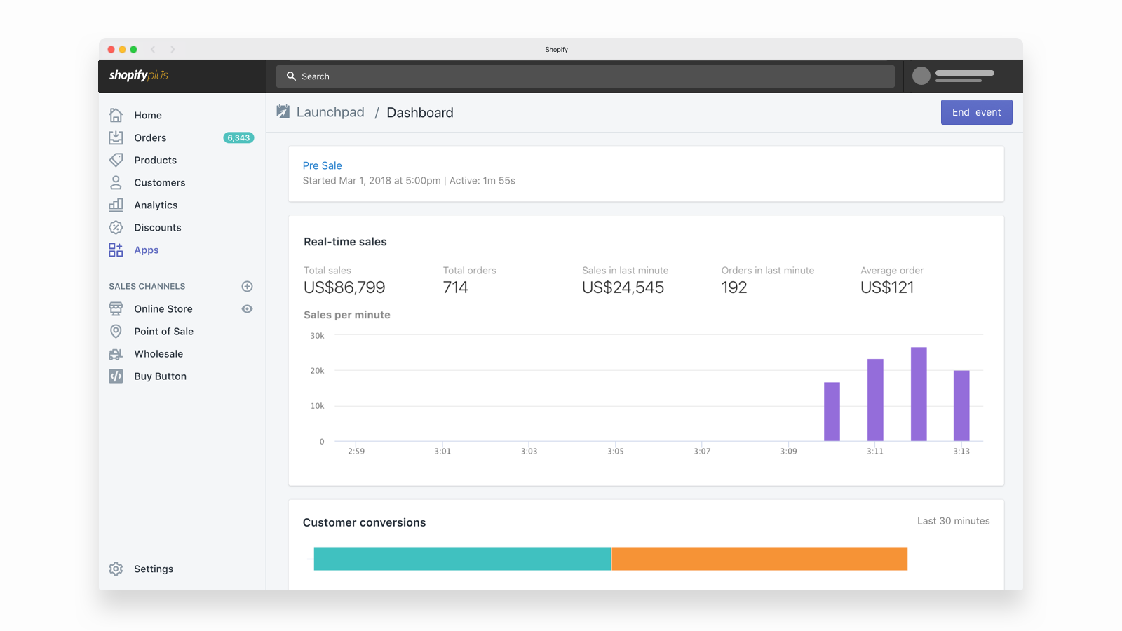 Track performance in real-time during events with the Shopify Plus Launchpad tool