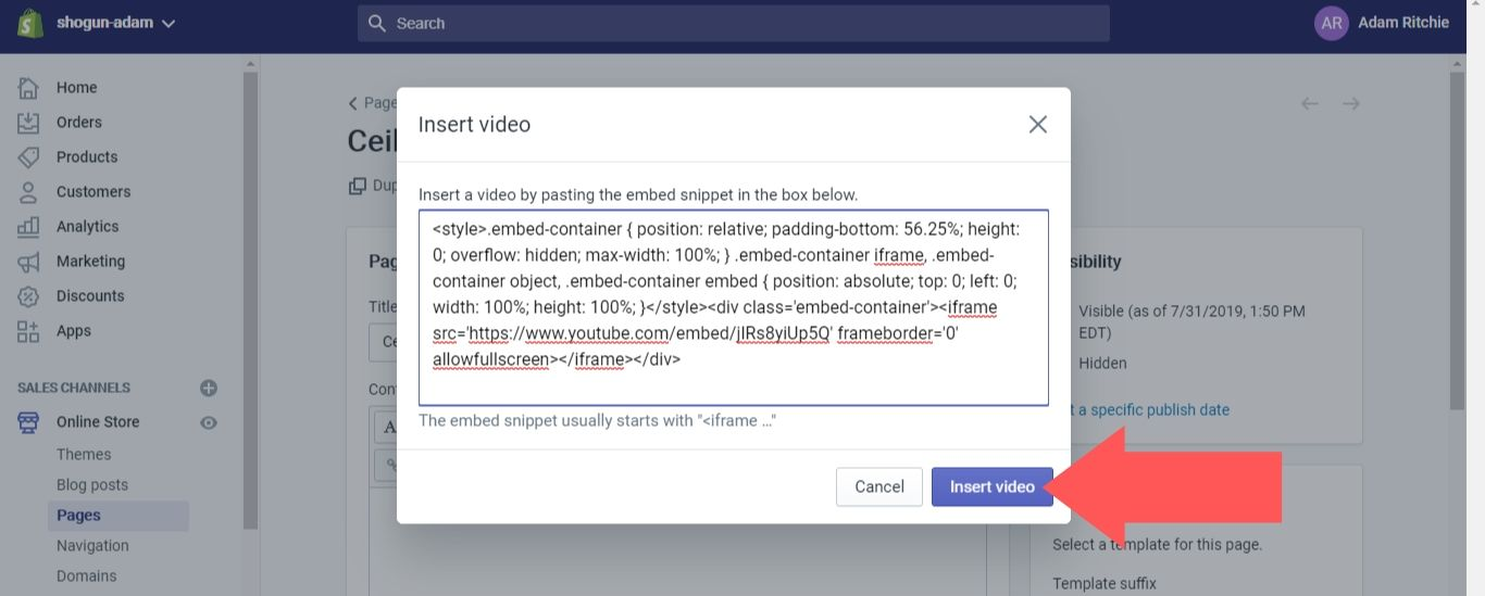 "Select ""Insert Video"""