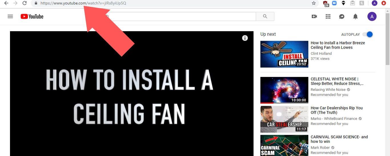 Copy the URL for your video