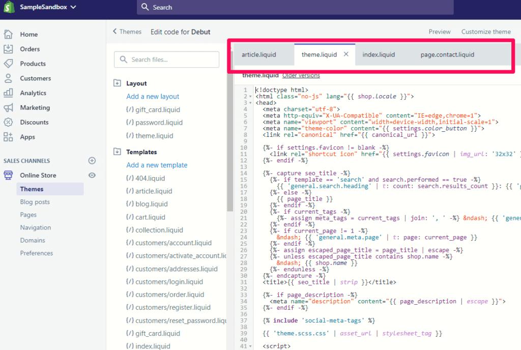 Theme editor tabs