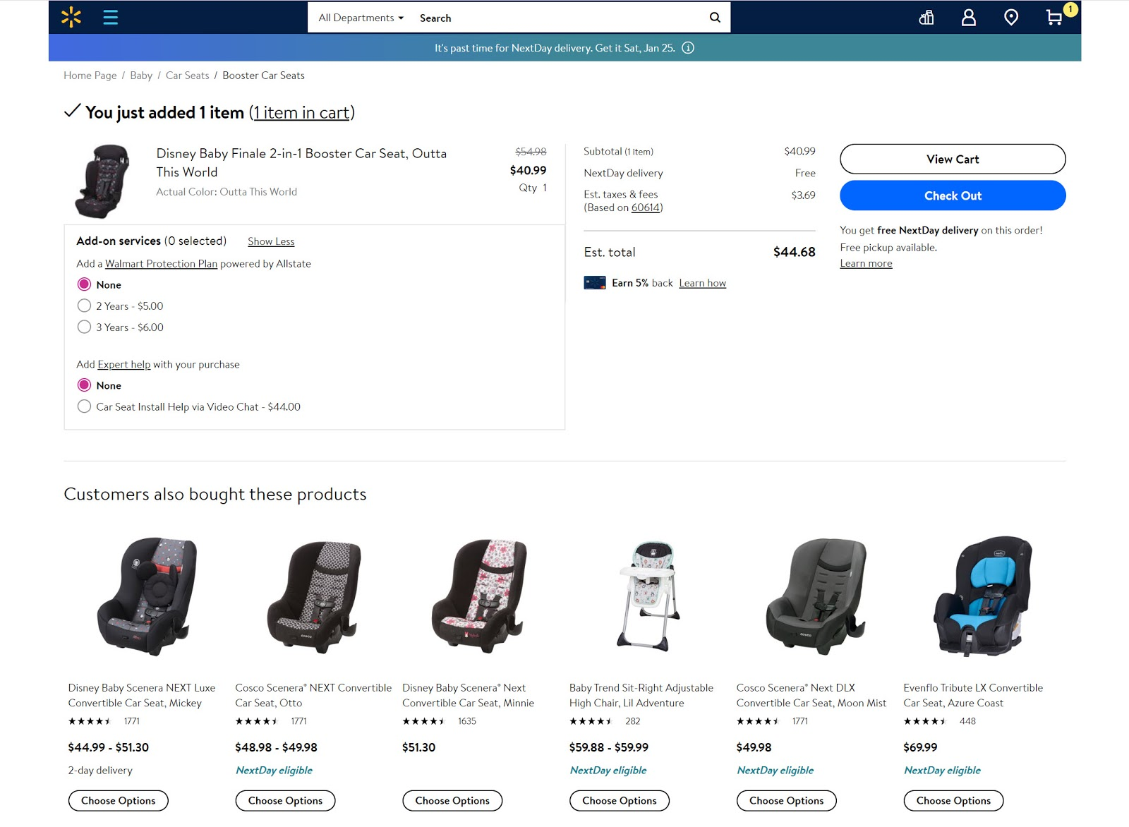 Example of recommended baby car seats on the Walmart website