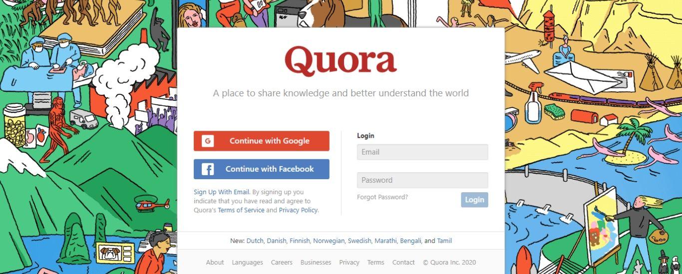 Quora login page