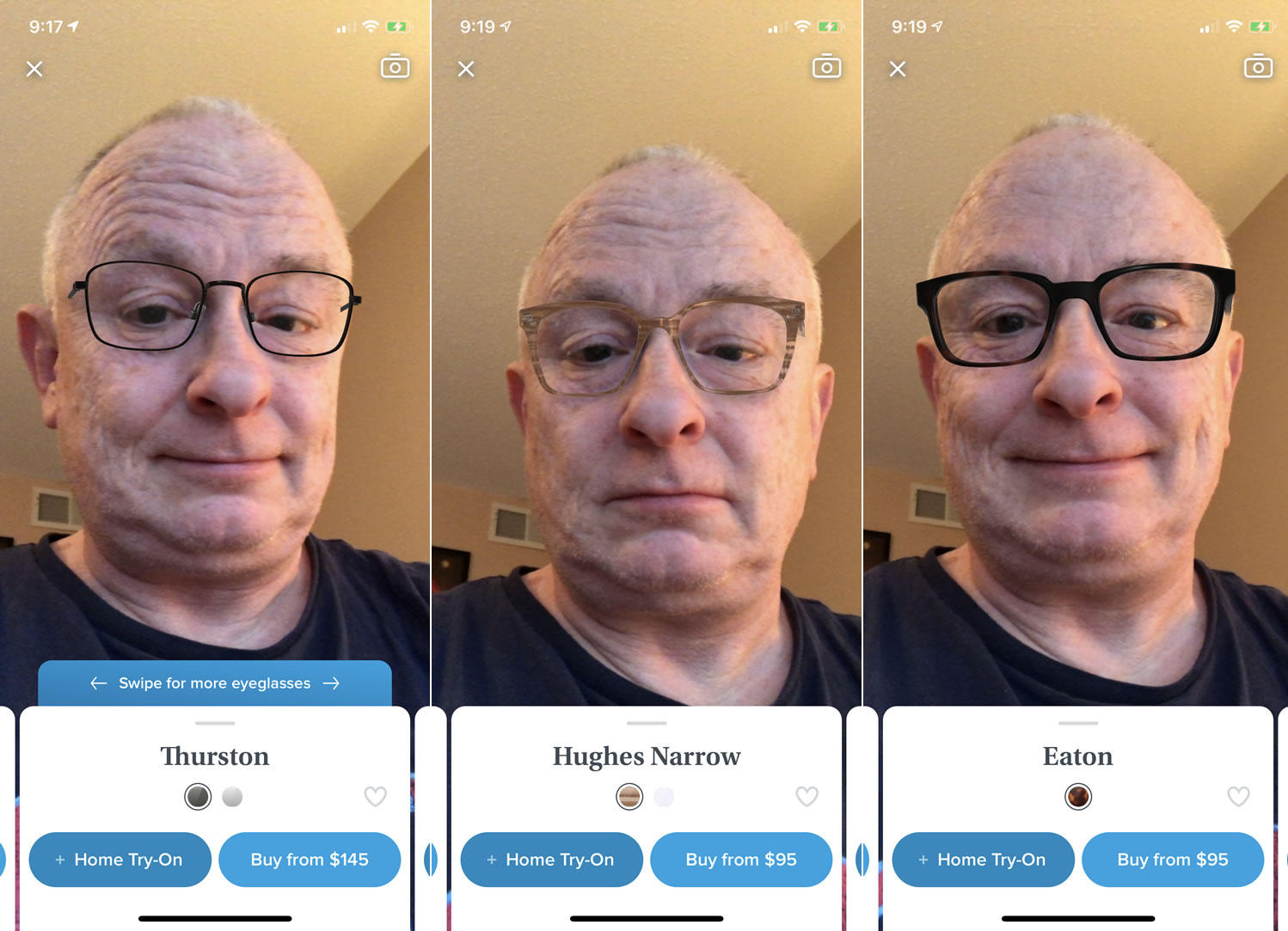 Older man using Augmented Reality (AR) with your smartphone