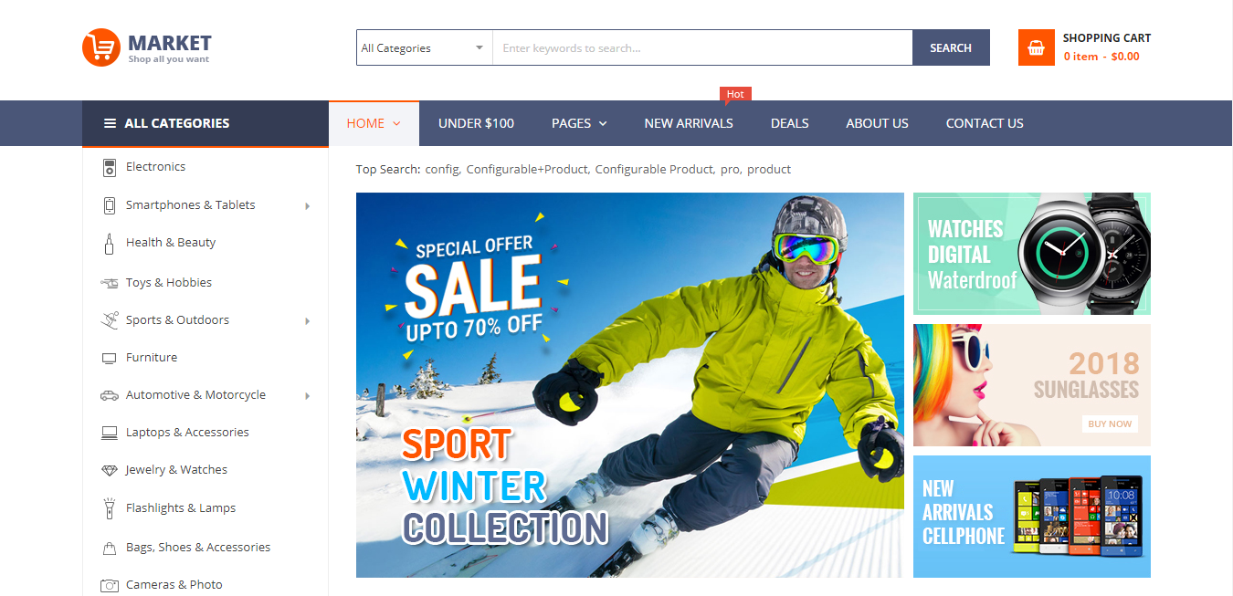 market theme homepage