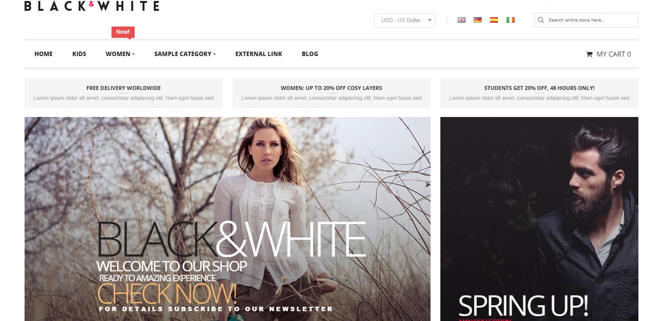 black & white theme homepage