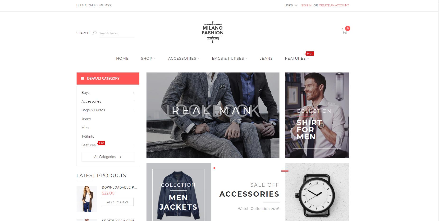 milano theme homepage