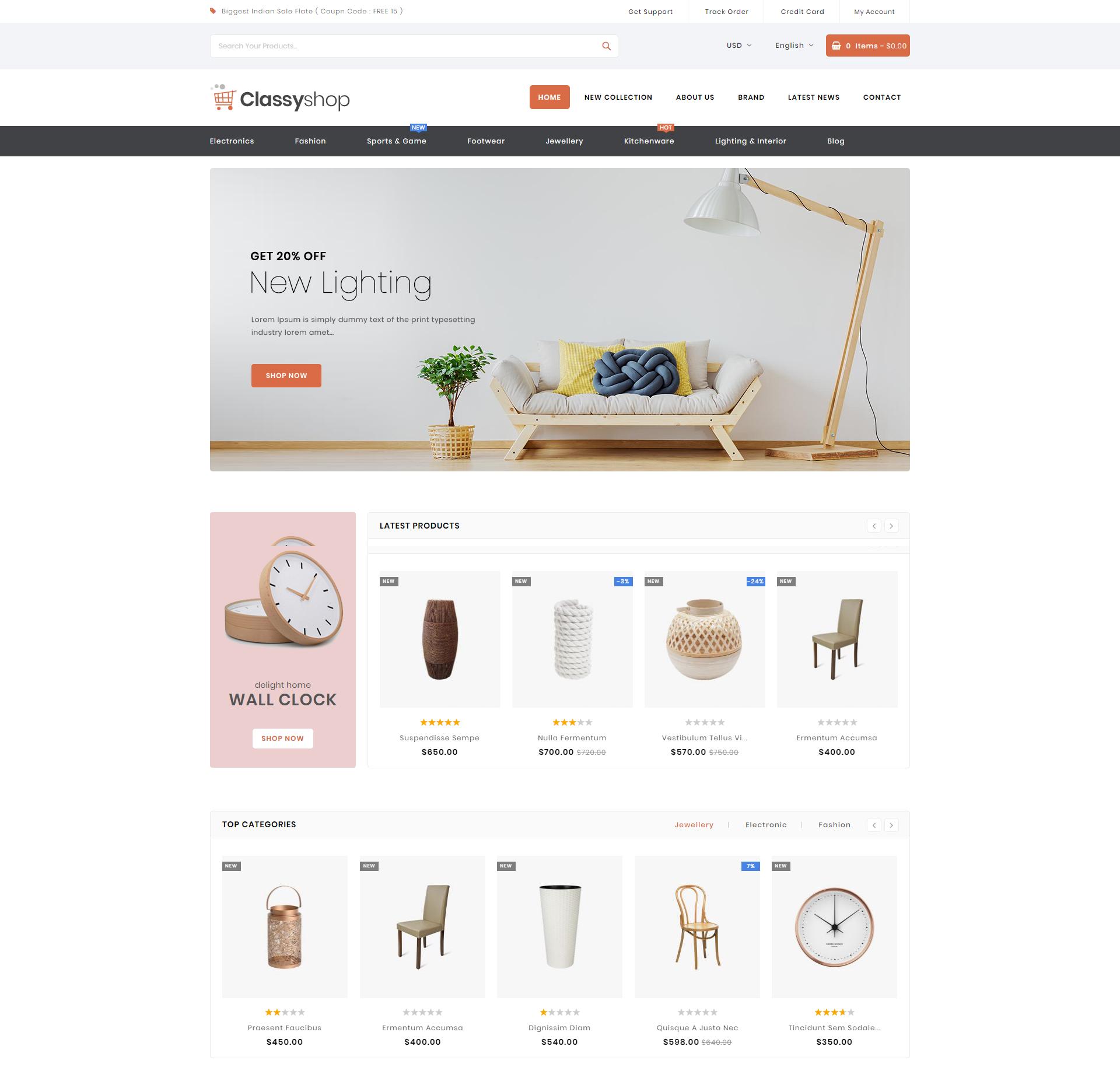 classy shop theme homepage