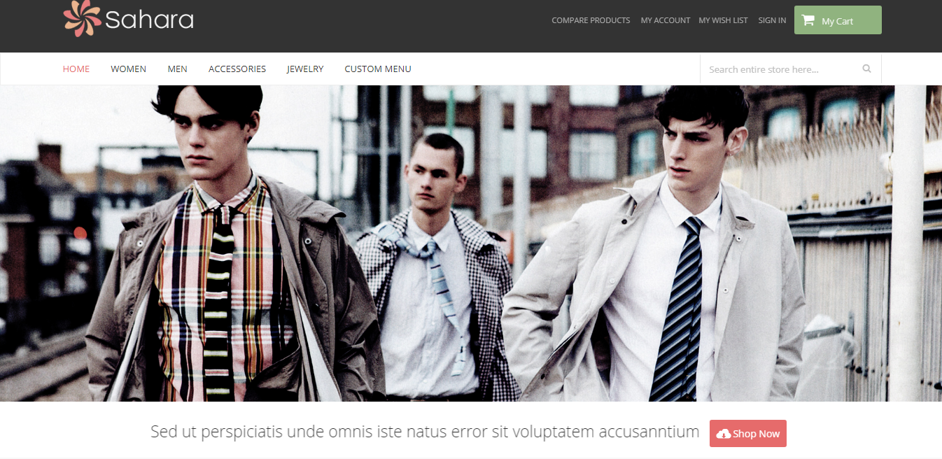 sahara theme homepage