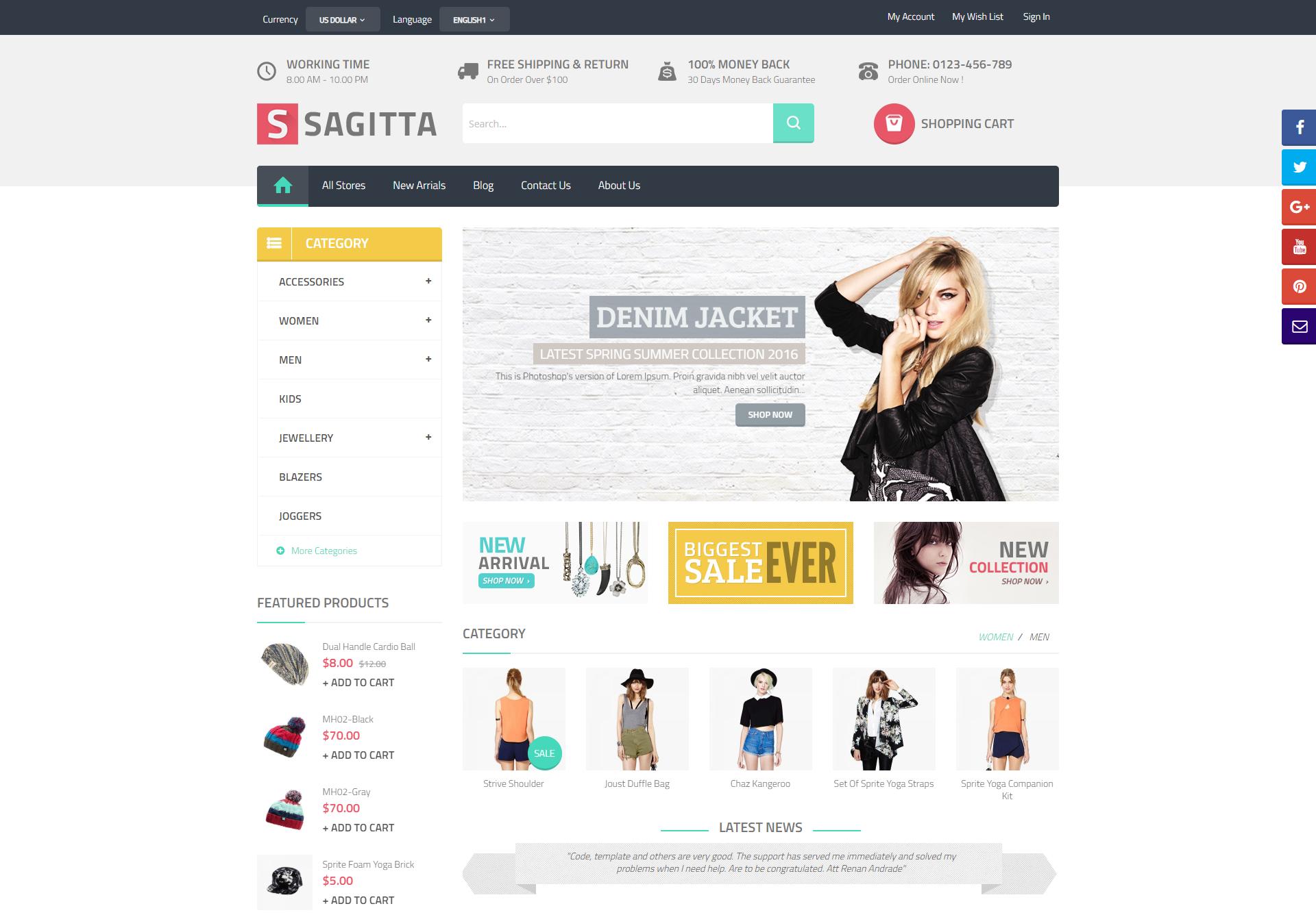 sagitta theme homepage