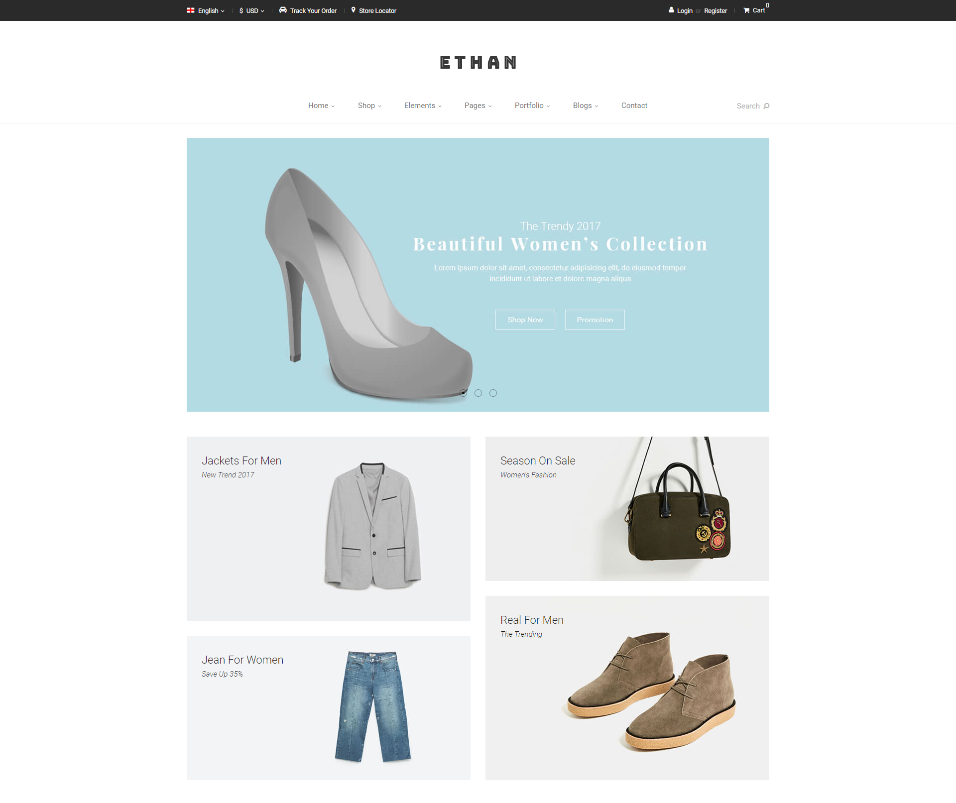 ethan theme homepage