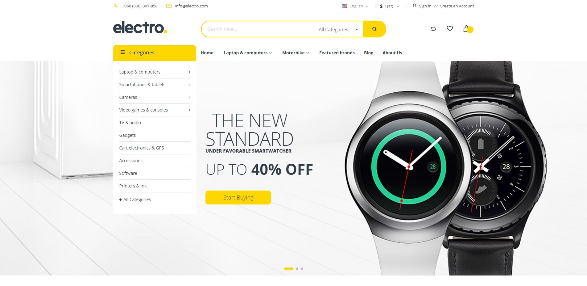 electro theme homepage