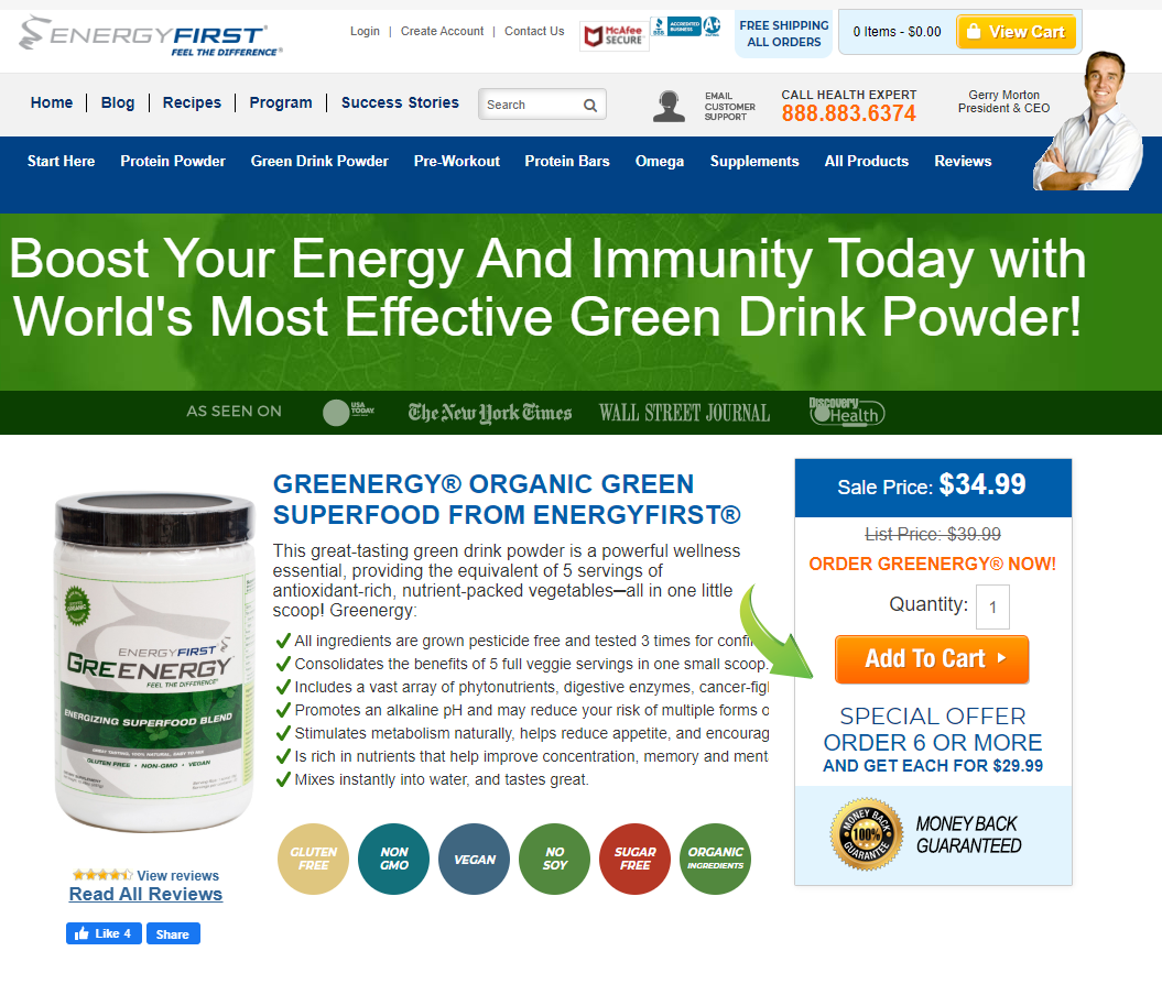 energyfirst landing page copy