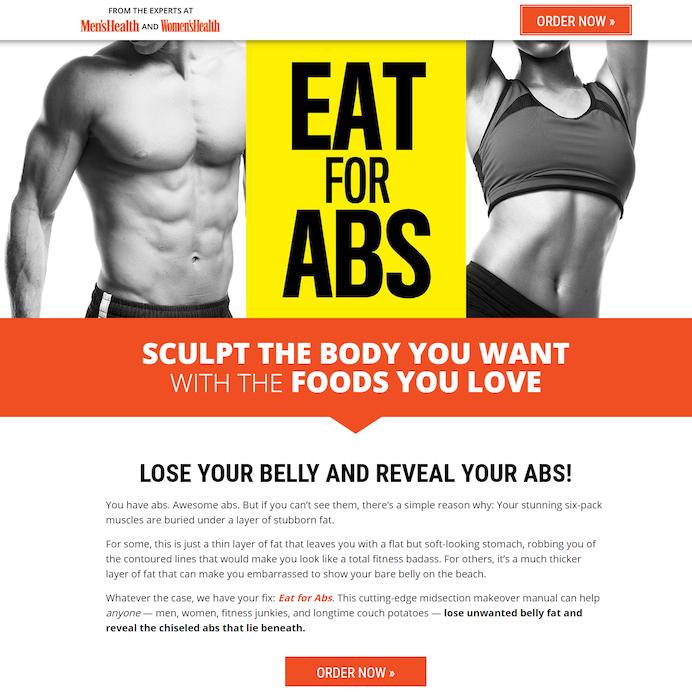 men's health landing page call to action