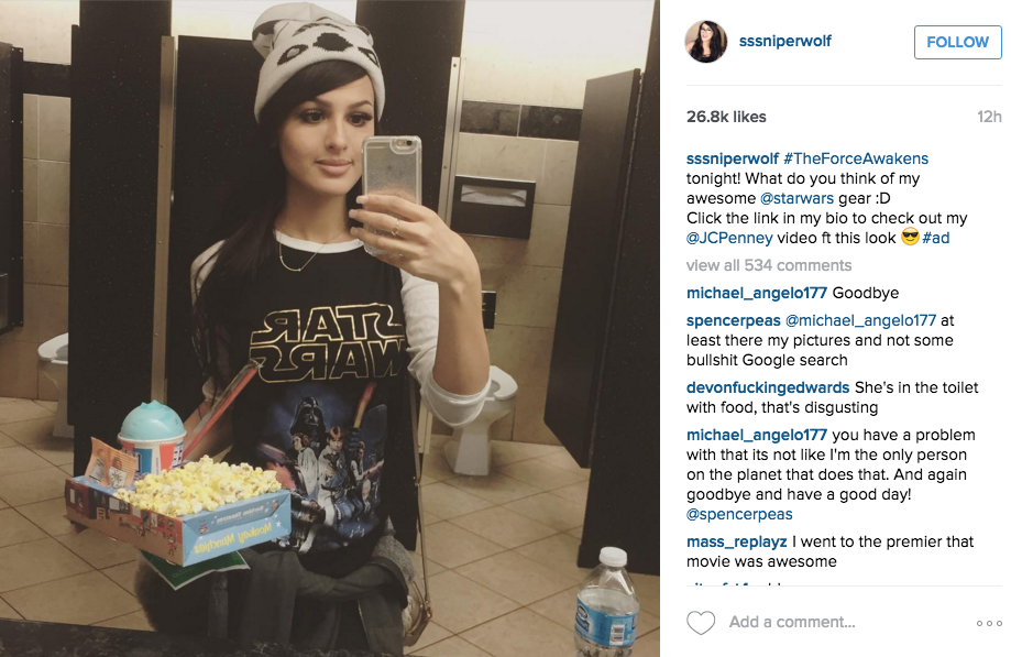 Influencer marketing example 2 of a young woman wearing a Star Wars shirt