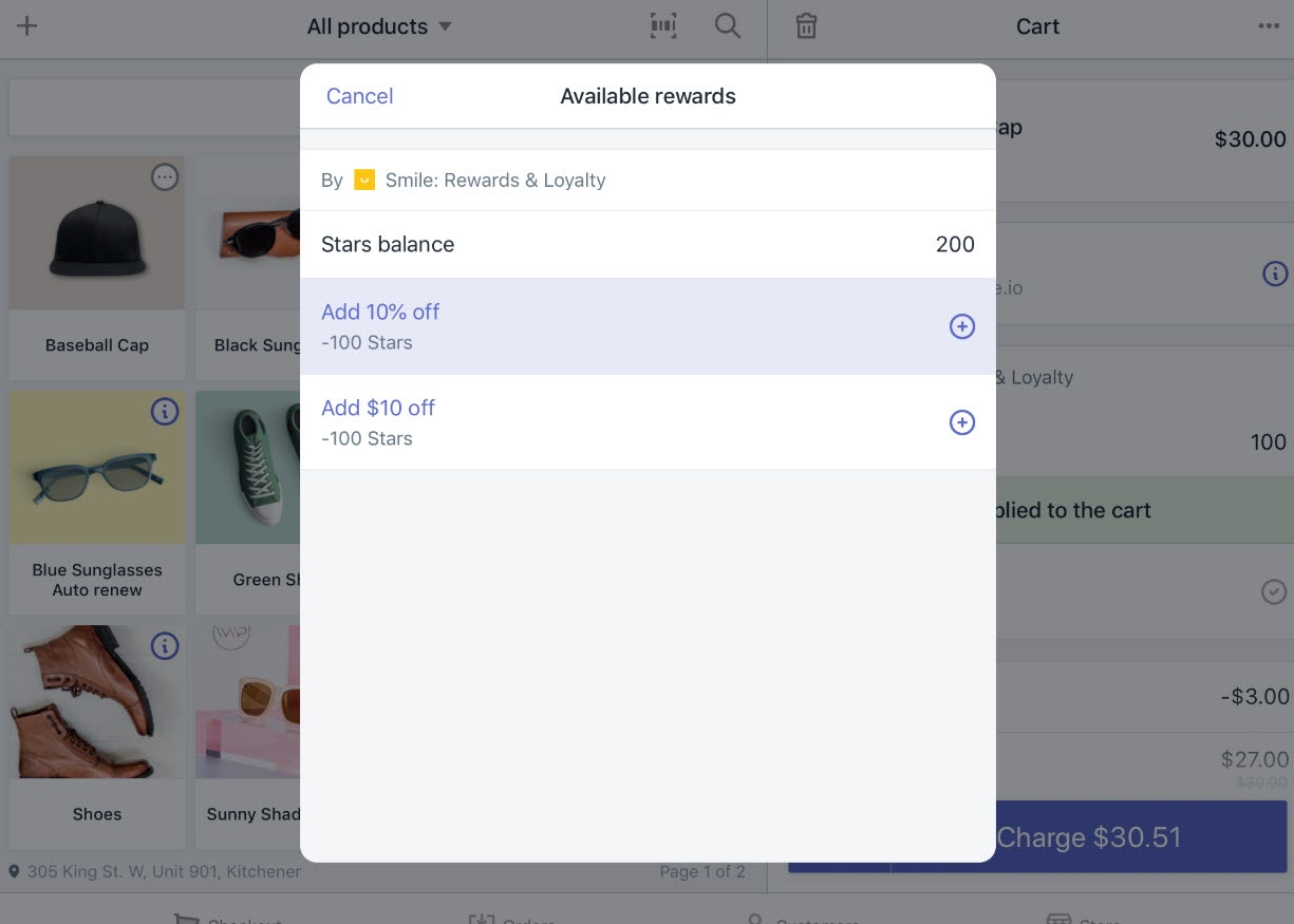 Smile.io shows users their available rewards