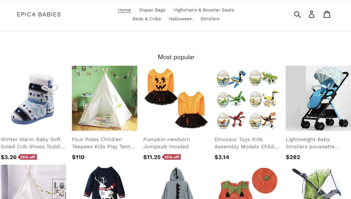 Epica Babies shows its most popular products on its website