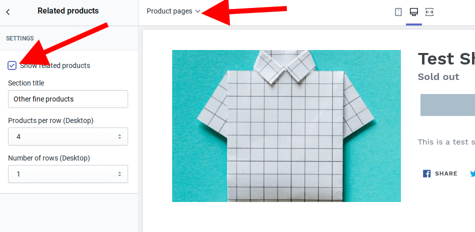 Clicking on it will bring up a section where you will check the box for Show related products