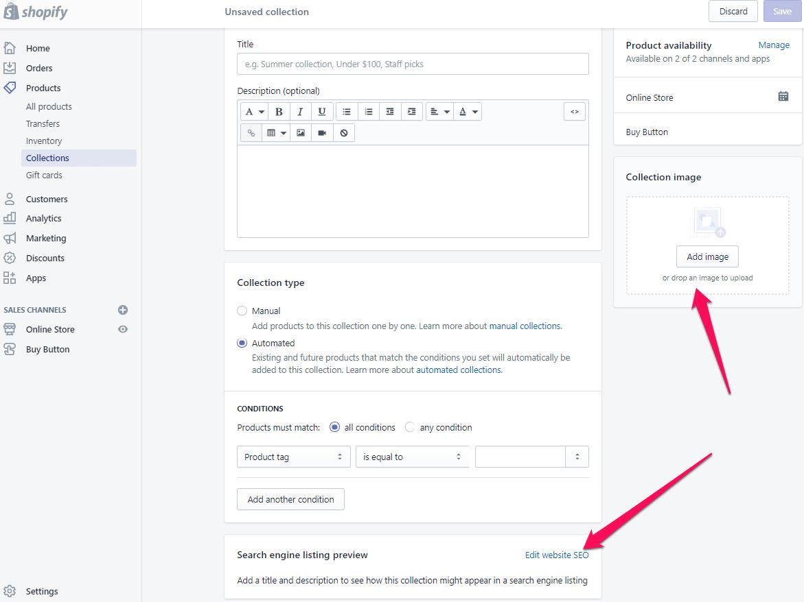 Ajouter une page de collection pour shopify étape 6