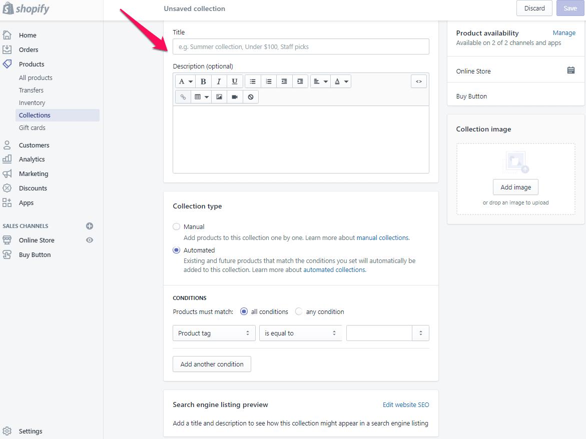 Ajouter une page de collection à shopify étape 4
