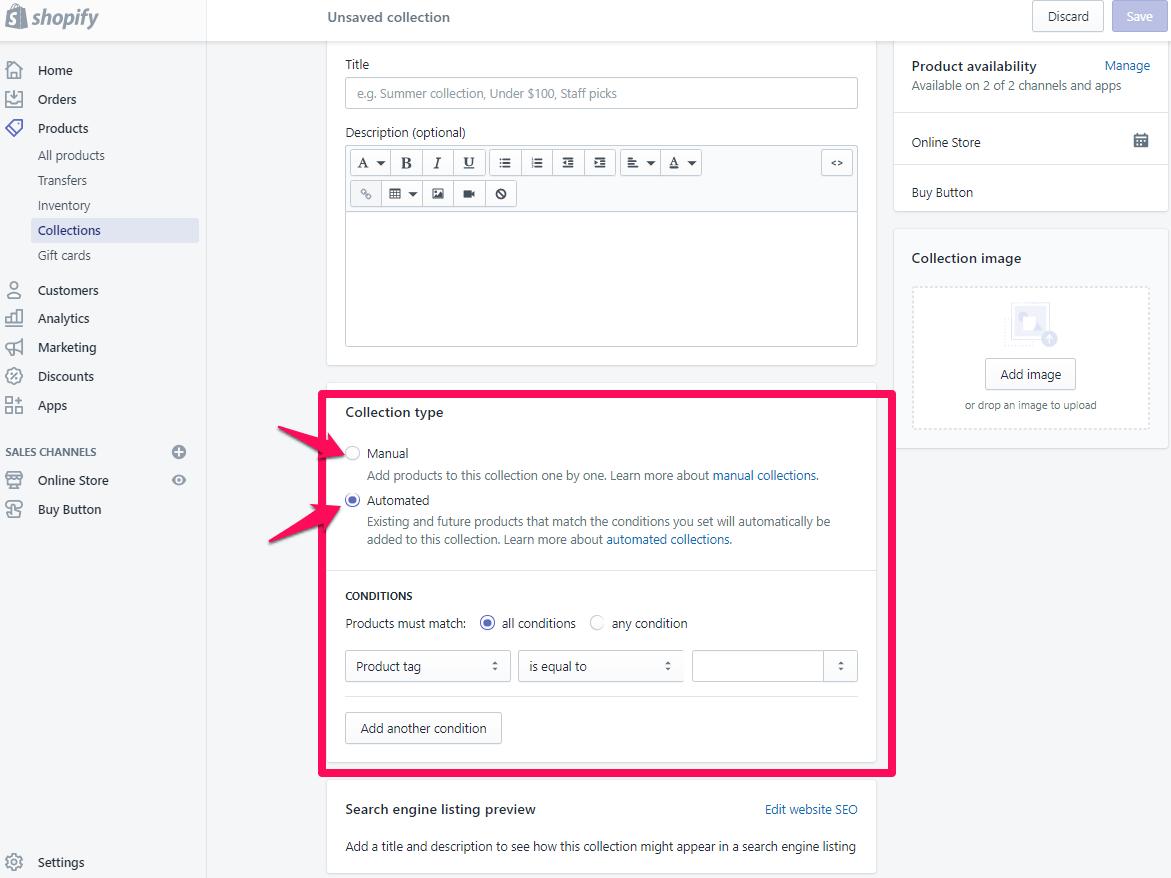 Ajouter une page de collection pour shopify étape 5