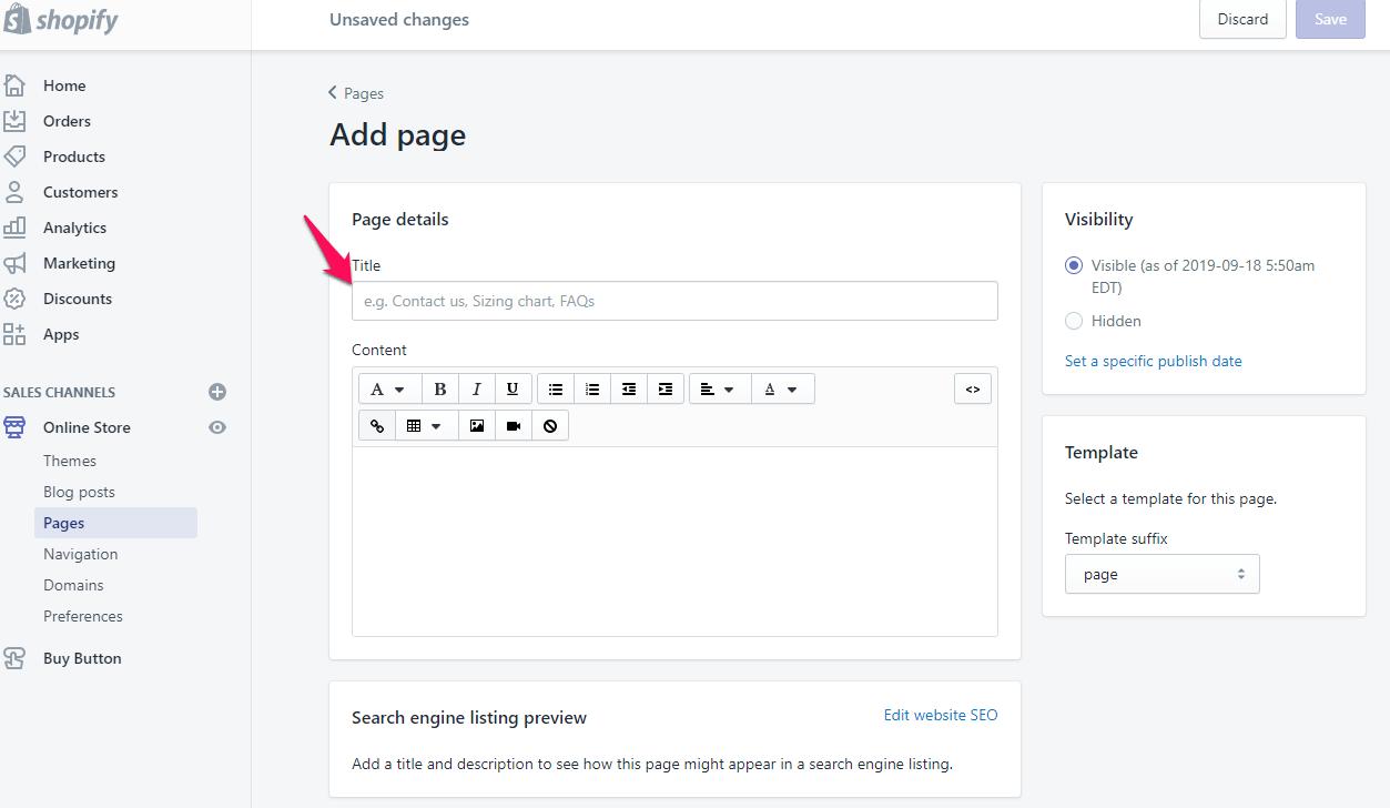 Ajouter une page à shopify Étape 4