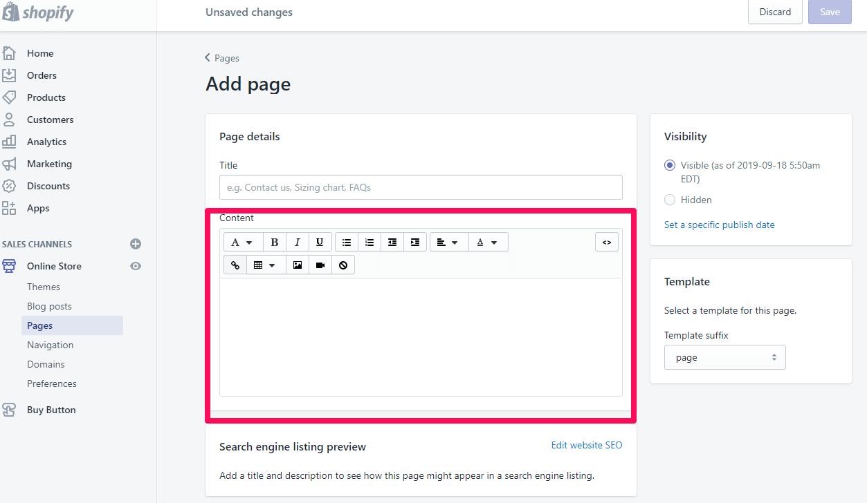 Ajouter une page à shopify Étape 5