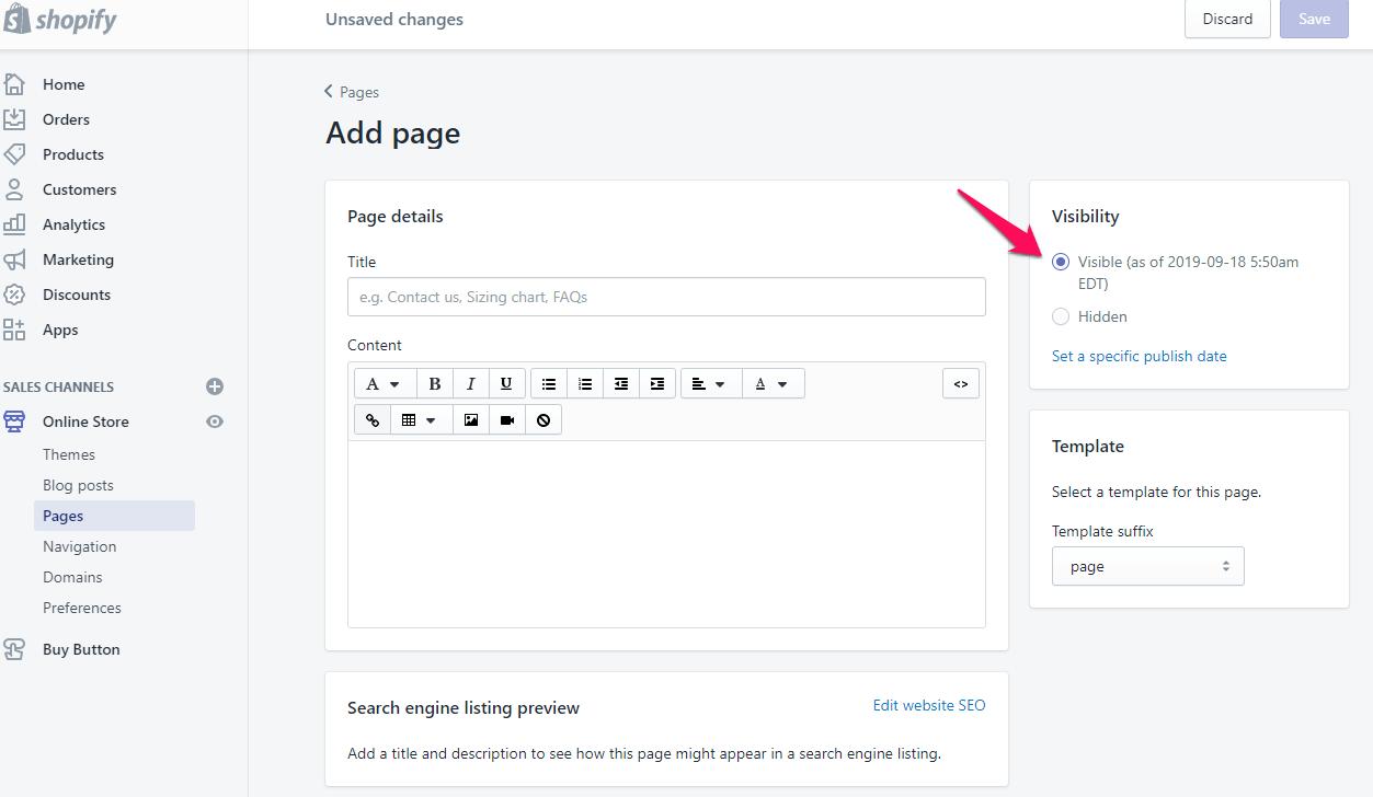 Ajouter une page sur shopify Étape 6