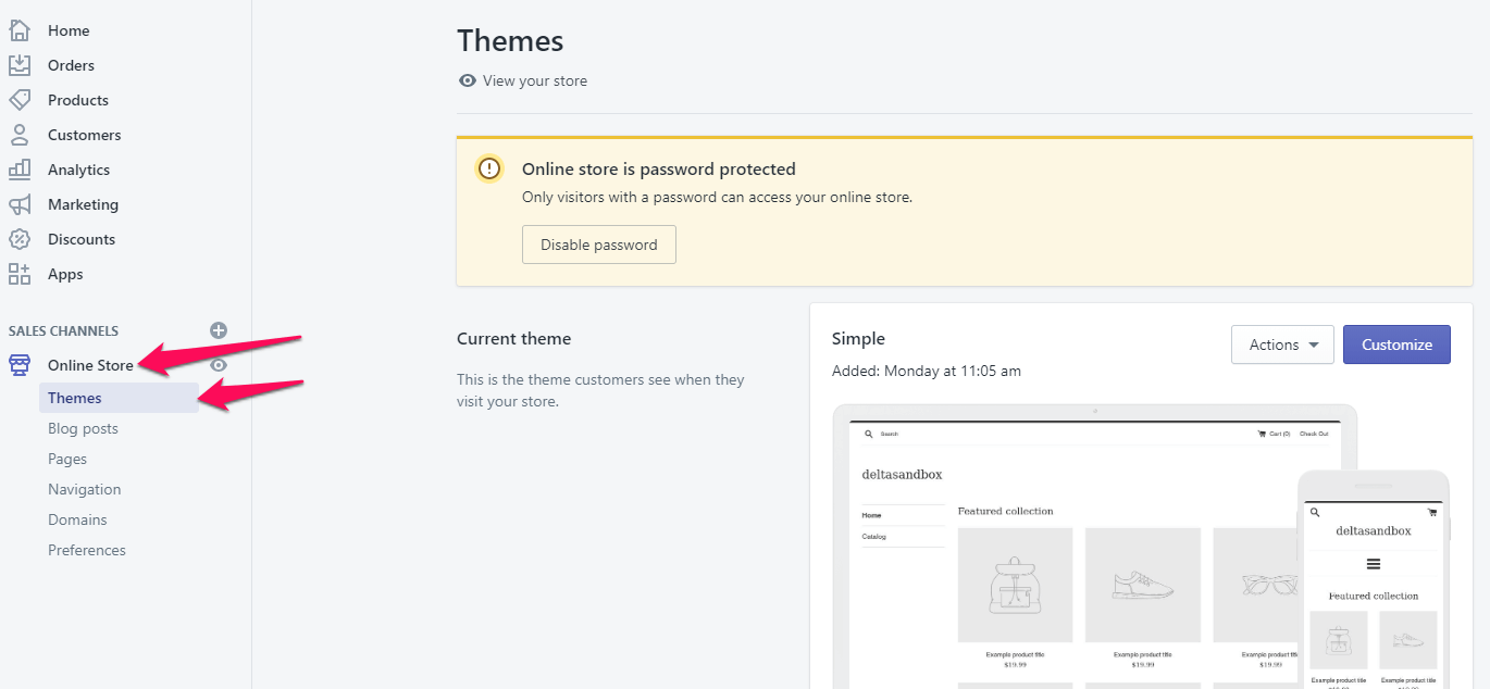 """You can reach this page by clicking """"Online Store"""", then clicking on """"Themes"""" in the left menu."""