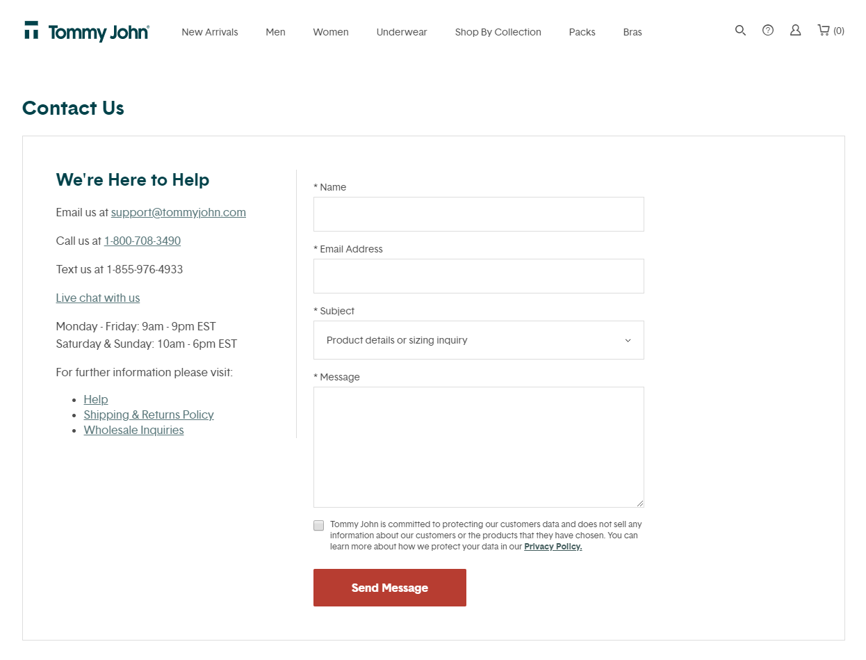 Tommy John contact page