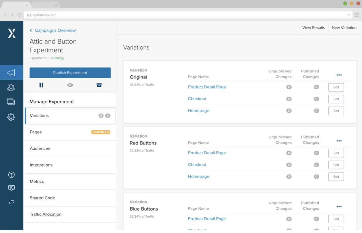 screenshot of optimizely homepage