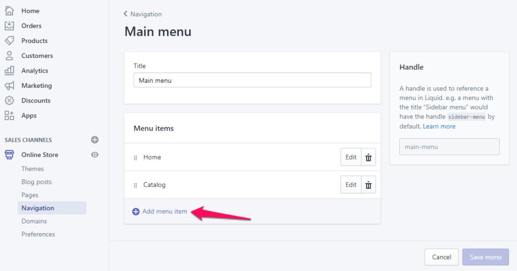 Add menu item