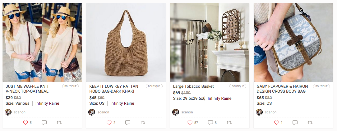 Poshmark profile selling women's clothing and accessories