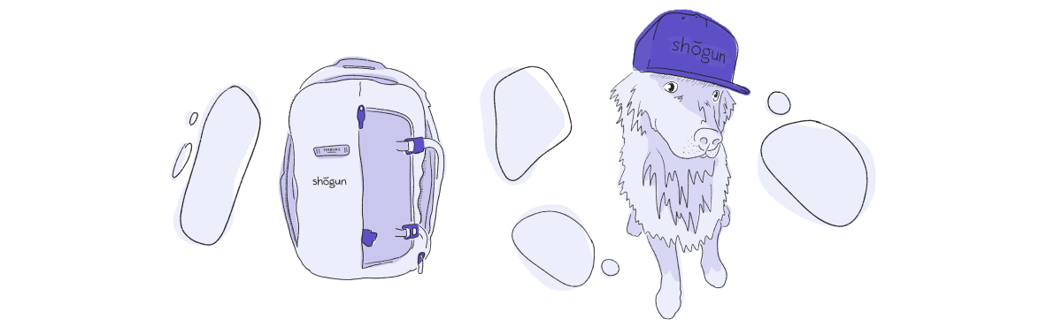 purple illustration of a backpack and dog wearing a hat