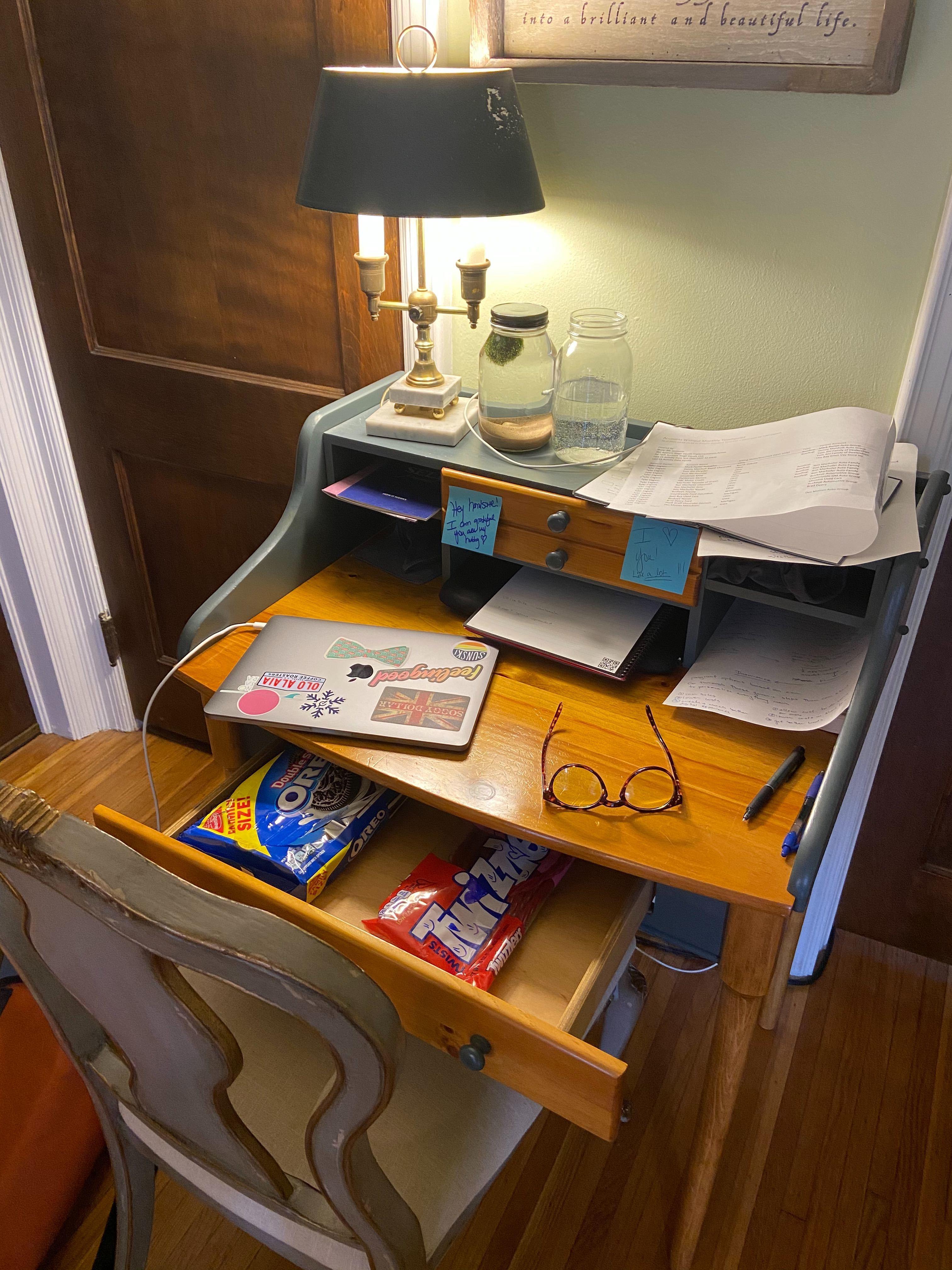 vintage desk turned into a work desk
