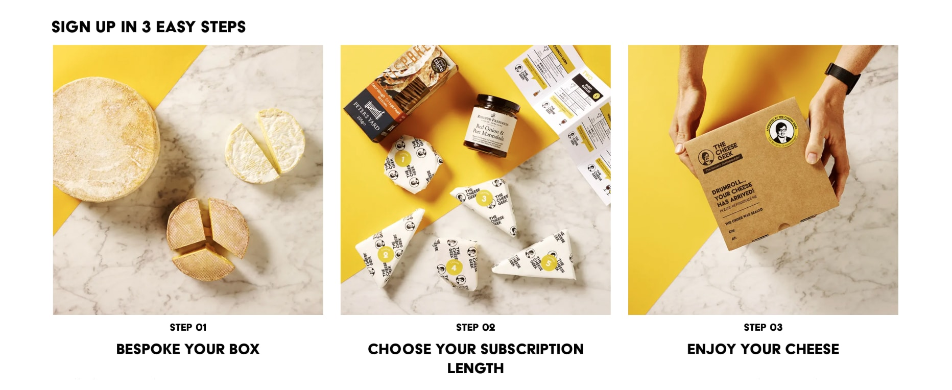 An example sign up flow from The Cheese Geek's storefront