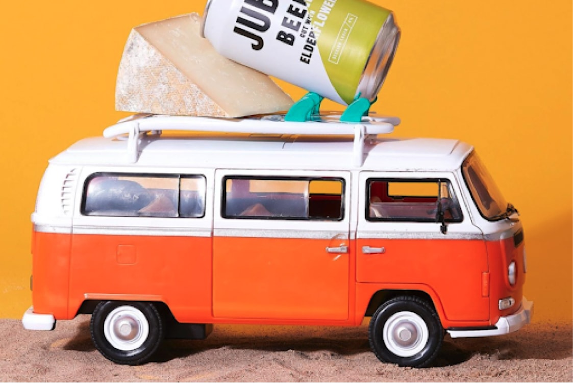 A VW bus prop used in The Cheese Geek's site photography