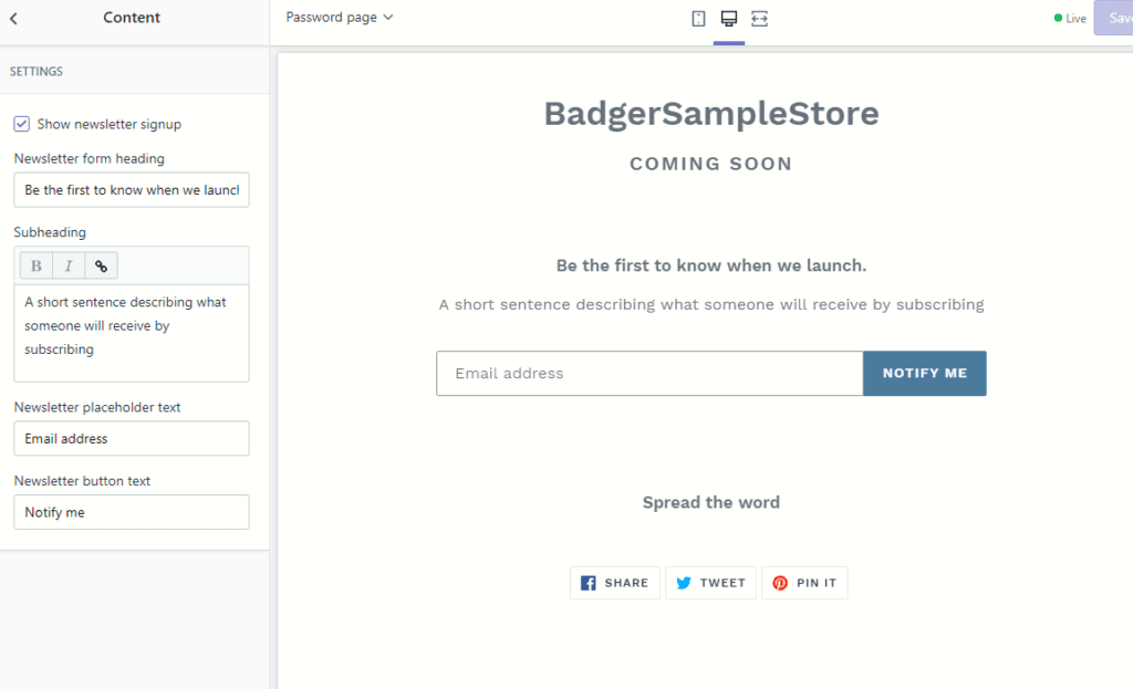 Shopify-password-page-content-editor