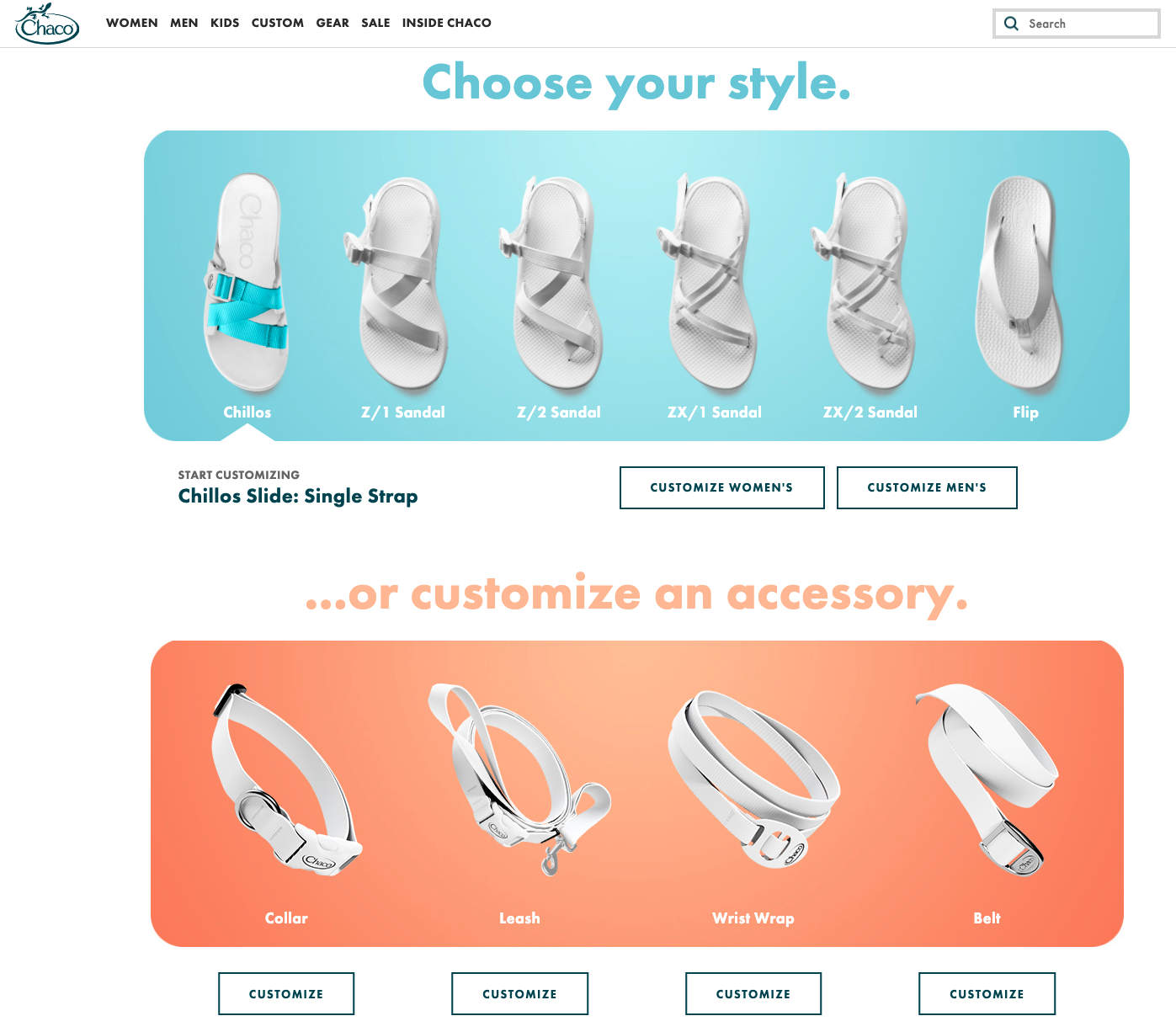 Chaco's product customization offering on their website