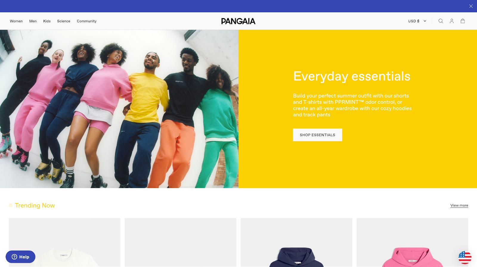 pangaia sustainable loungewear shogun built homepage