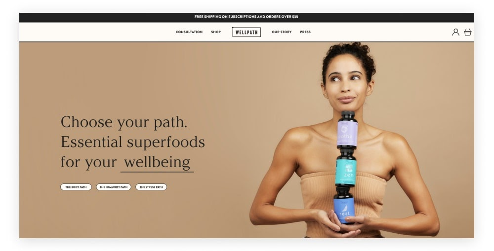The homepage of the WellPath website