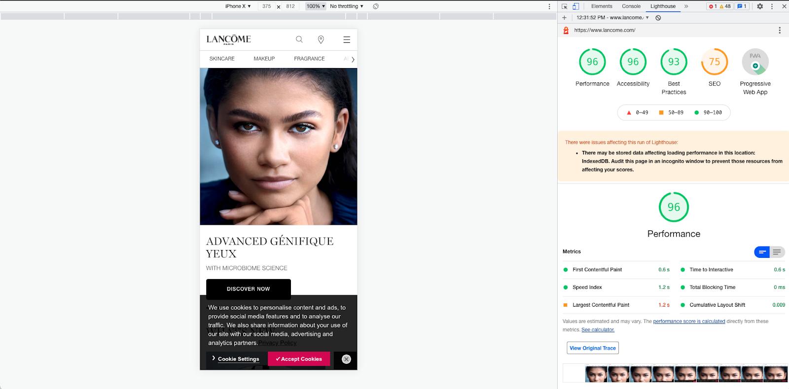 A Lighthouse audit of the Lancôme website