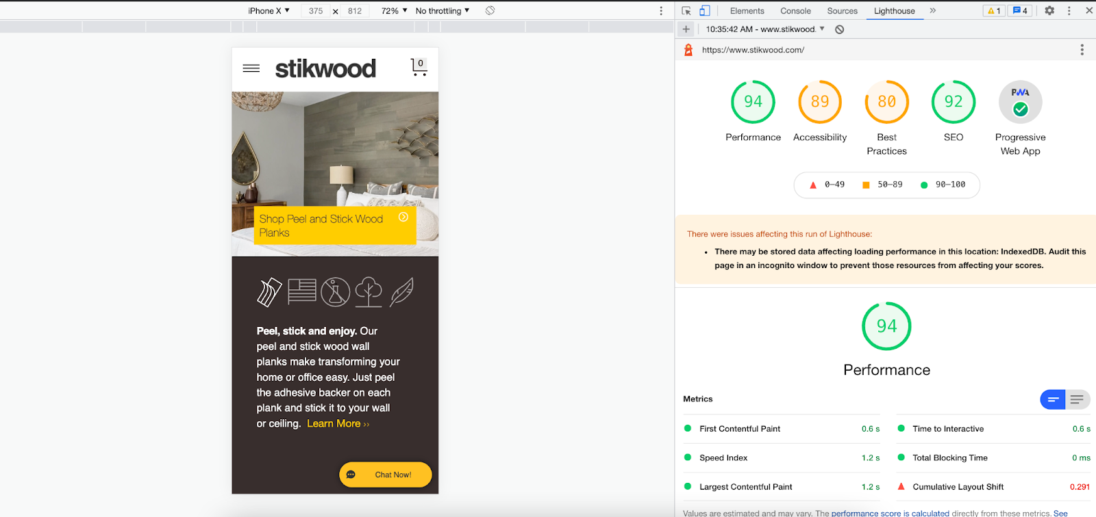 A Lighthouse audit of the Stikwood website