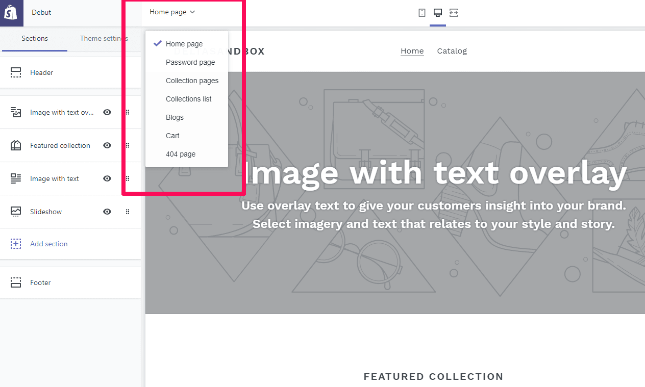 Page templates within Shopify