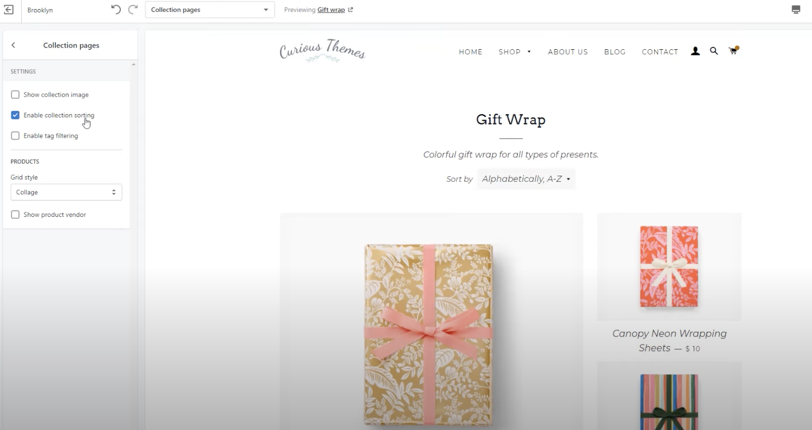 collection page template shopify brooklyn theme