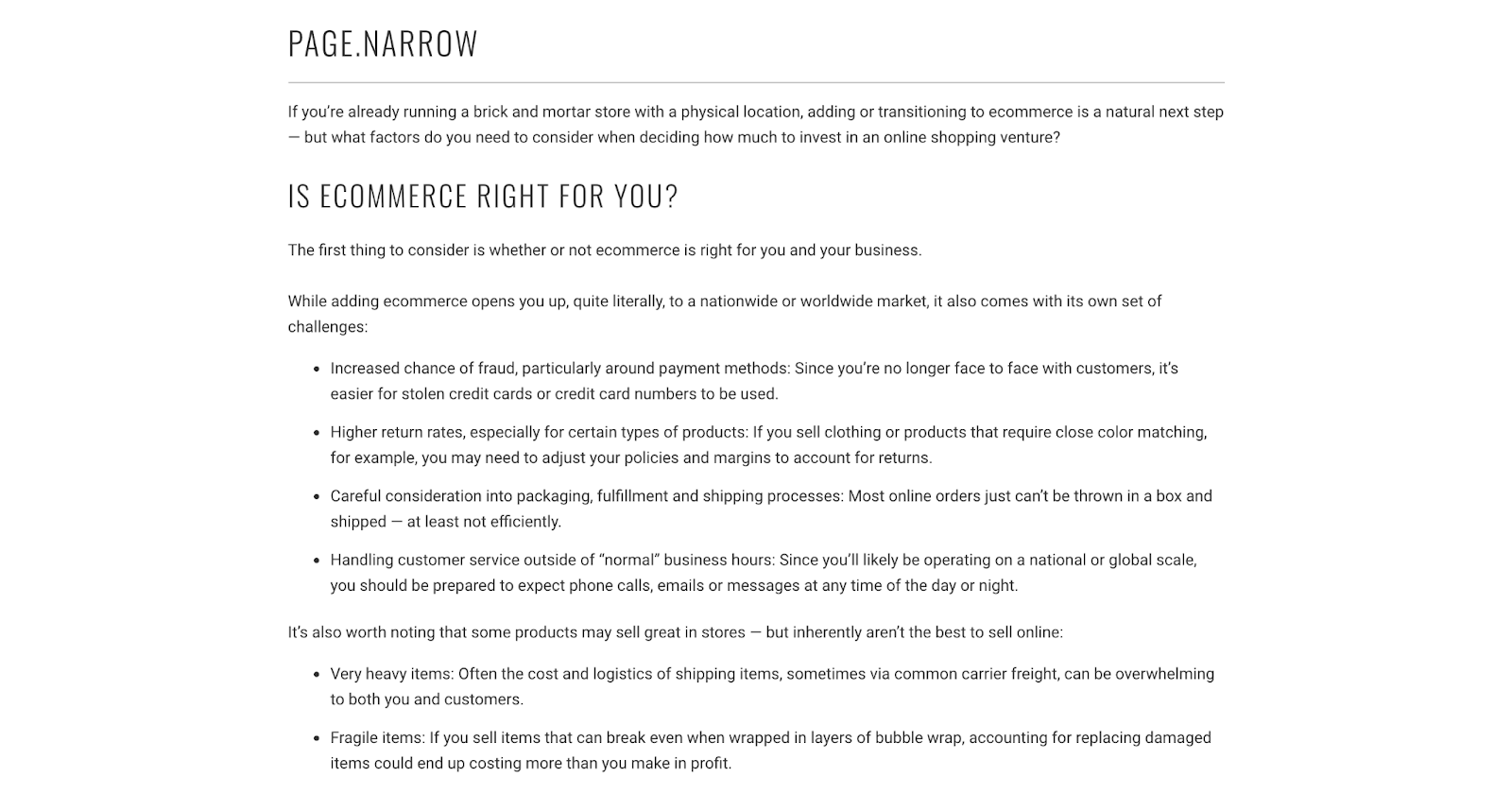 page.narrow out of the sandbox shopify page template