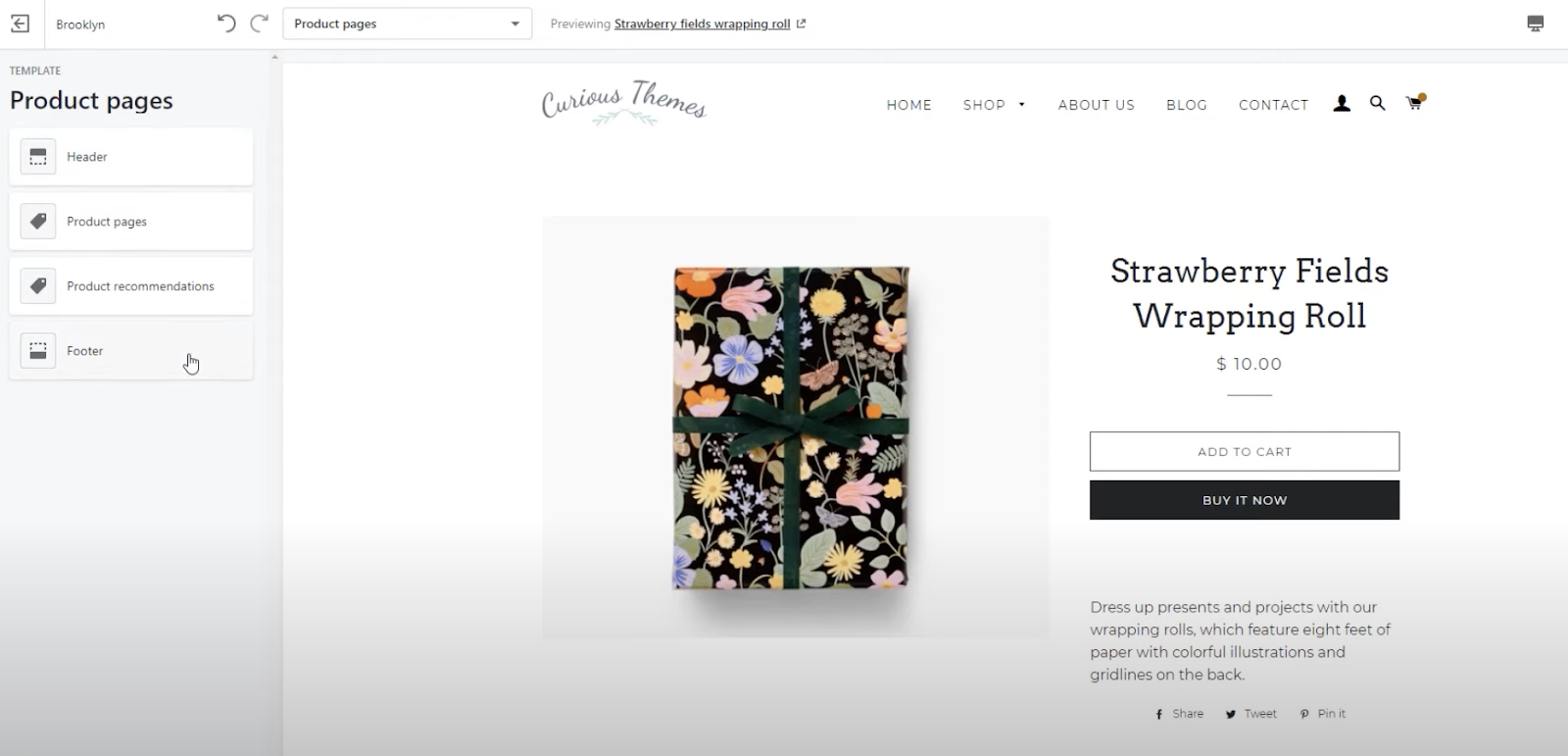 product page template shopify brooklyn theme